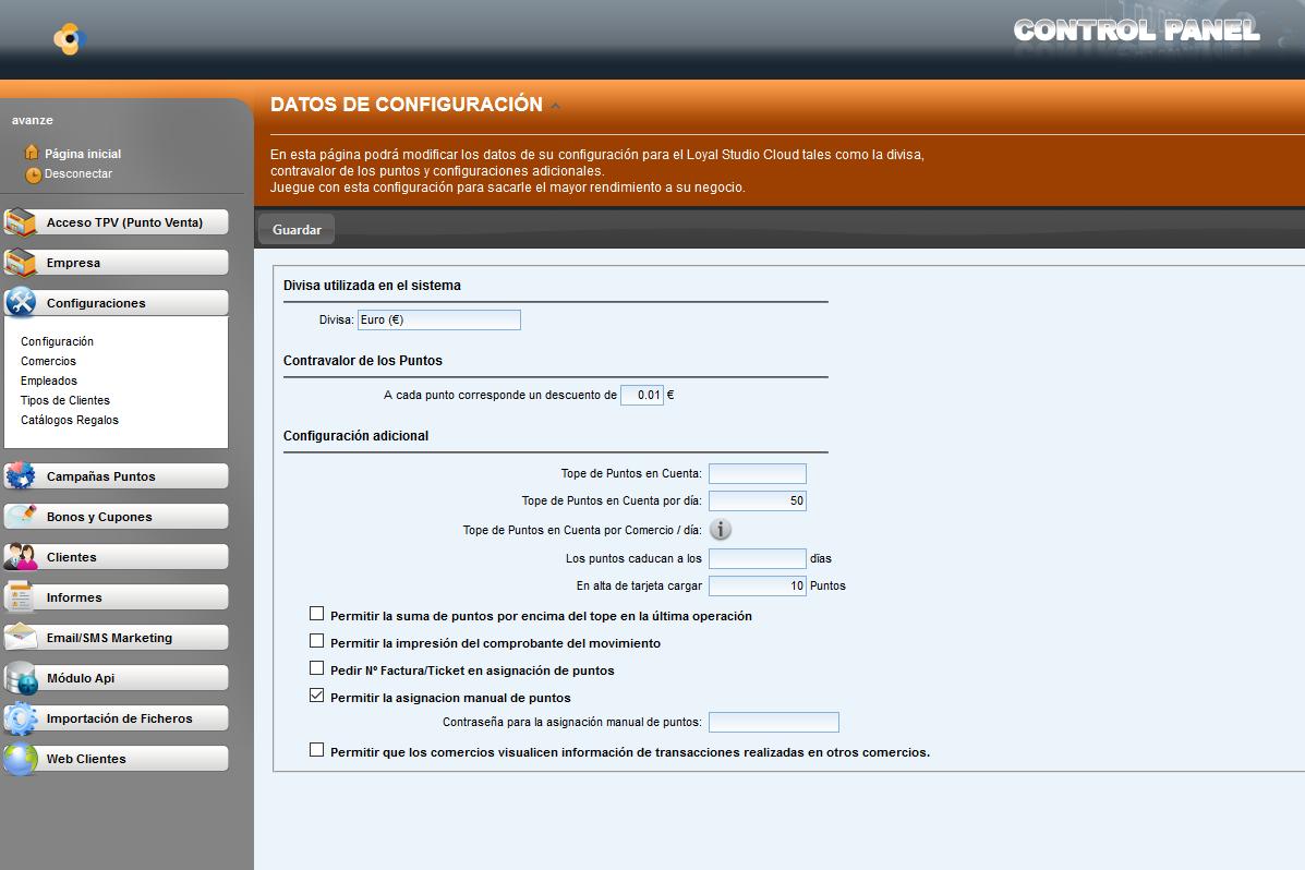 Panel de control  Software de fidelización de clientes